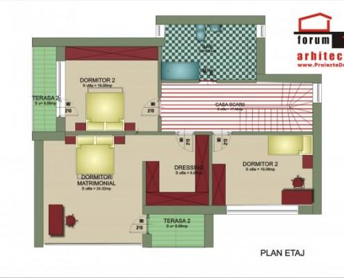 Proiect de casa Ilas plan etaj