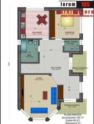 bucătărie, living, dormitor, baie, cameră tehnică