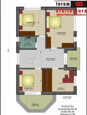 3 dormitoare, birou, baie