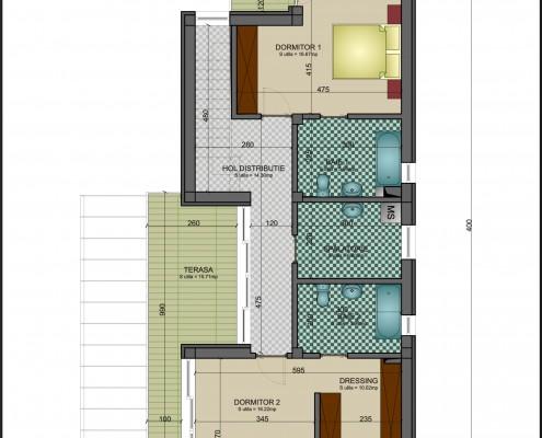 Proiect casa pe lot ingust plan etaj