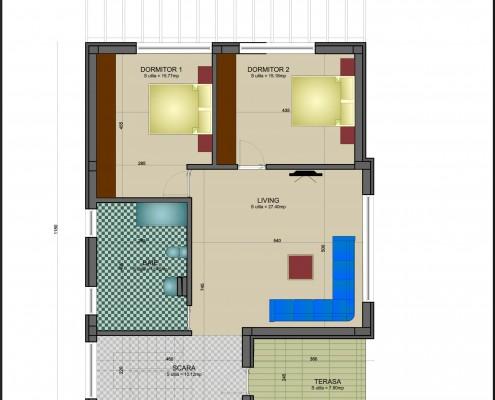 model etaj cu scara la intrare